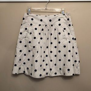Blue and white polka dotted skirt