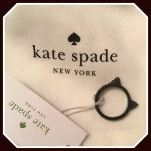 Kate Spade Jazz Thing Up Black Cat Ears Ring NWT 6