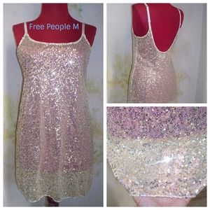 Free People Intimately Gold Sequin Mesh Lingerie M