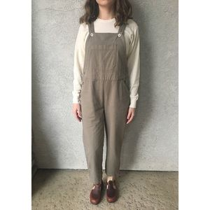 [vintage] cropped olive/taupe overalls