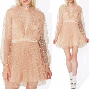 NWT For Love And Lemons Glitter Mini Dress