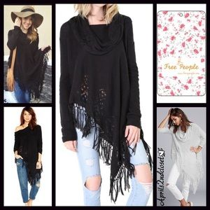Free People Black Cowl Sweater Tassell Poncho S