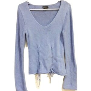 Guess Lavender Flared-Sleeve Lace-Up Sweater