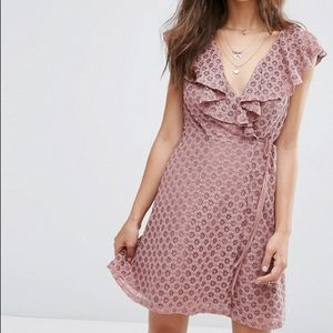 ASOS / Dusty Pink Lace Wrap Dress