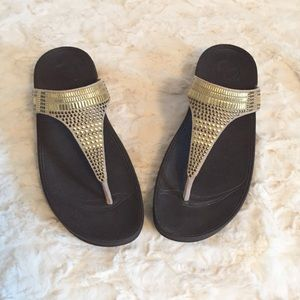 Fitflops brown and gold embellished