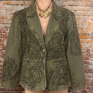Embossed Beaded Jacket Petite Large