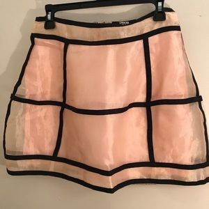 Cage Ribbed Pink and Black Mesh Skirt