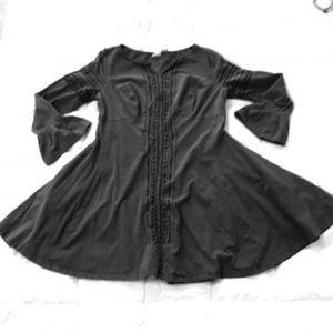 EShakti embroidered bell sleeve empire waist dress