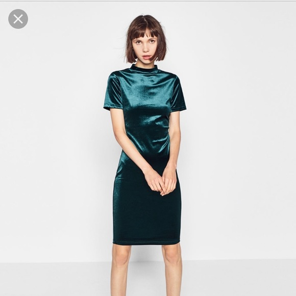 33b9a488 Zara Dresses | Velvet Green Dress New Sexy Holiday Christmas | Poshmark