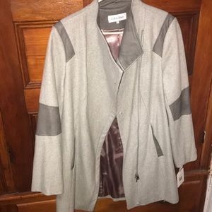 Calvin Klein Wool Coat with Leather Trim