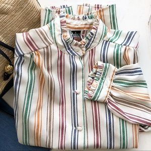 Vintage ruffled striped button-down blouse