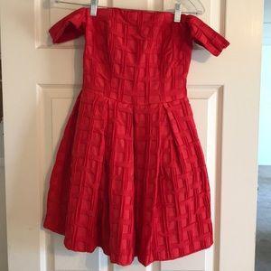 Red off the shoulder cocktail dress