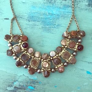 Faux stone and gold boho bib necklace