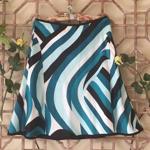 Ann Taylor silk abstract print a line skirt