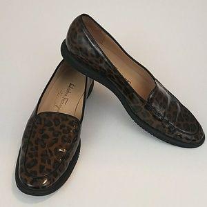 Salvatore Ferragamo patent leopard loafers sz 8b