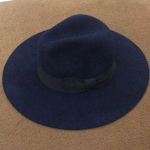 Blue Felt Hat with Black Bow