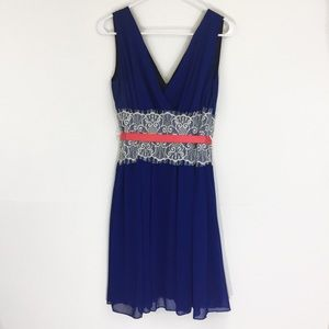 Dresses & Skirts - Royal Blue and White Lace Cocktail Dress