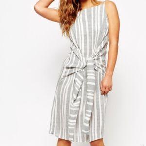 ASOS Black & White Stripe Dress w/ Large Tie Front