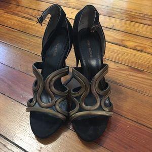 Gold black snake like pointy heels  Sandals
