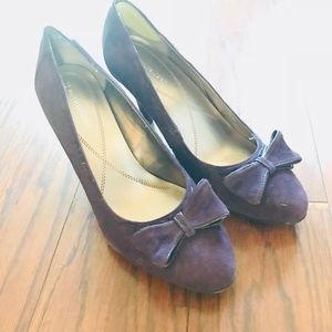 Suede Purple Bow Pumps