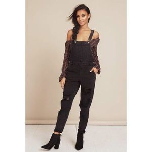 Pants - Black Distressed Overalls