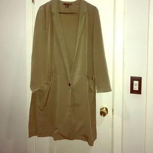 Trendy Long Olive Blazer with Side Slits