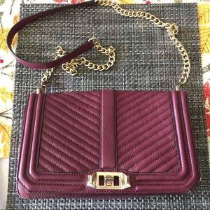 Rebecca Minkoff maroon leather chain flap bag