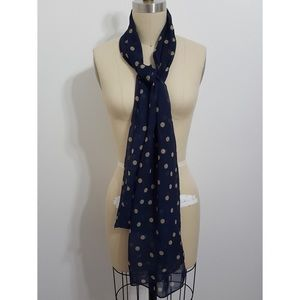 Accessories - Navy Taupe Polka Dot Scarf