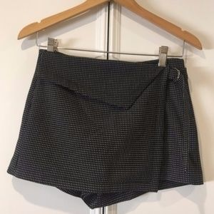 Zara Black Belted Asymmetric Polka Dot Skort XS