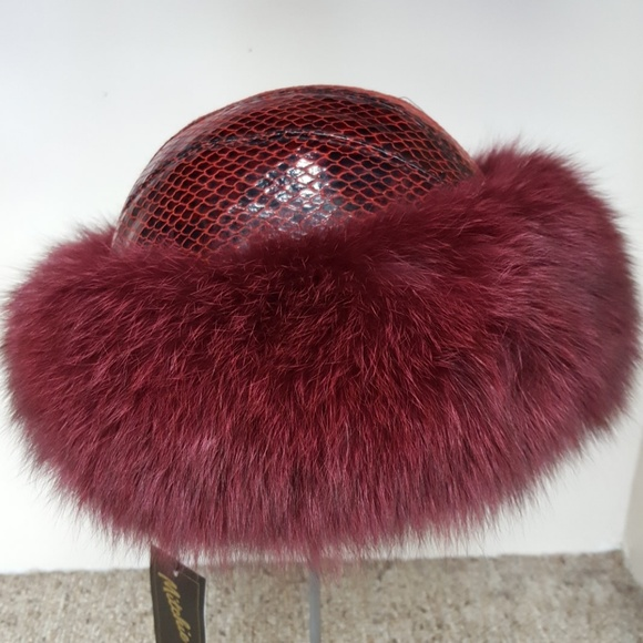 ffef56215fd Embossed Leather With Fox Fur Hat
