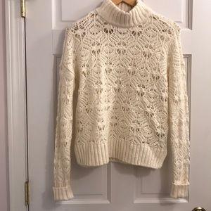 Open weave mock turtleneck sweater