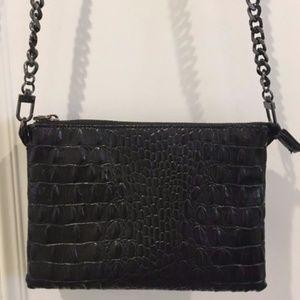Zara Black Snake Embossed Crossbody Chain Bag