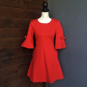 Dresses & Skirts - Red bow bell sleeve  dress