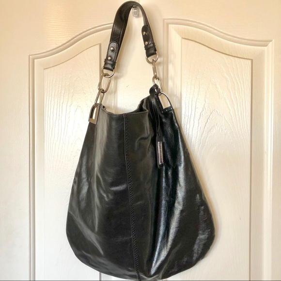 Badgley Mischka Handbags - Badgley Mischka large black leather hobo bag. 81868cf98928c