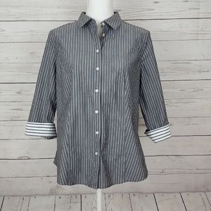 Talbots striped button up blouse