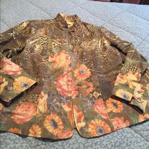 Women's Coldwater Creek brown floral 18w jacket