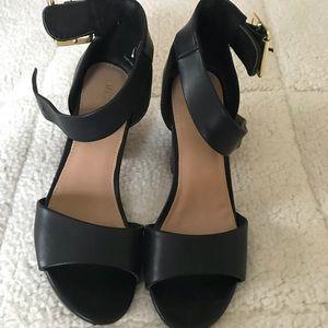 Black Merona Ankle Strap Block Heels