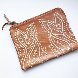 Anthropologie Embroidered Vegan Leather Clutch