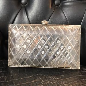 Acrylic and rhinestone clutch