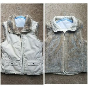 Reversible faux fur zip up vest
