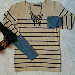 *The Limited Striped Tan & Navy Sweater*