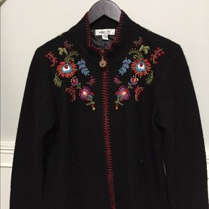 Black wool embroidered jacket.