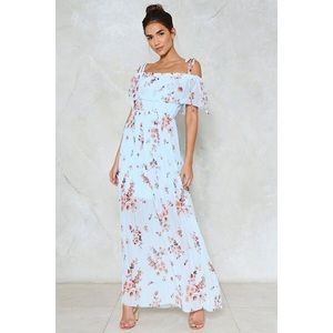 pleated floral maxi dress blue