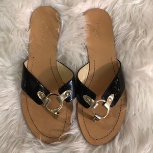 Kate Spade patent leather gold buckle sandals