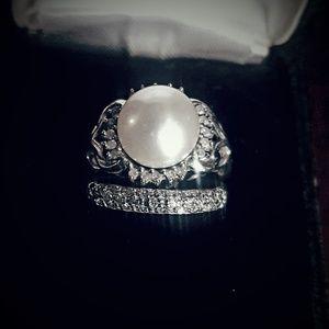 Vintage Pearl and Diamond ring set