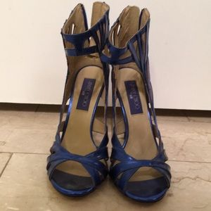 70f056869db Jimmy Choo Shoes - Jimmy Choo x H M Metallic Blue Cage Heel