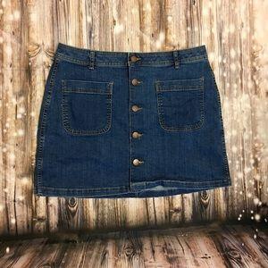 a.n.a. jean button up mini skirt