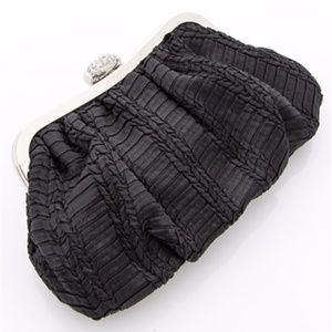Handbags - Black Textured Satin Evening Bag Rhinestone Clasp