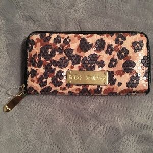Betsey Johnson sequins leopard wallet