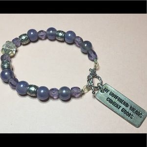 Jewelry - Military Girlfriend Purple Glass Bead Bracelet